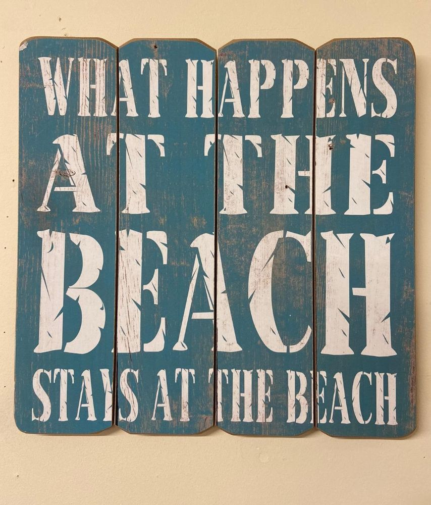 Blue What Happens At The Beach 40cm Wooden Quote Wall Art